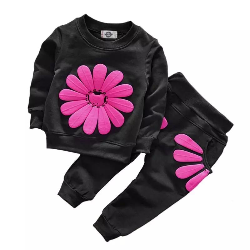 "Trening 2 piese ""Floarea roz"", bluza si pantaloni negri"