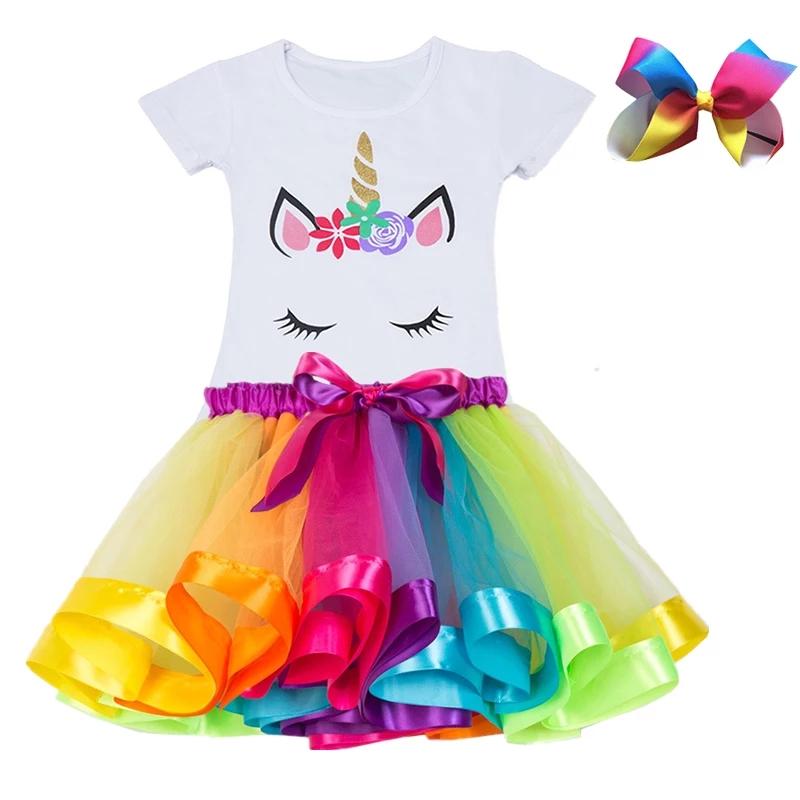"""Set 3 piese """"Unicornul curcubeu"""", tricou alb, fusta multicolora si clips"""