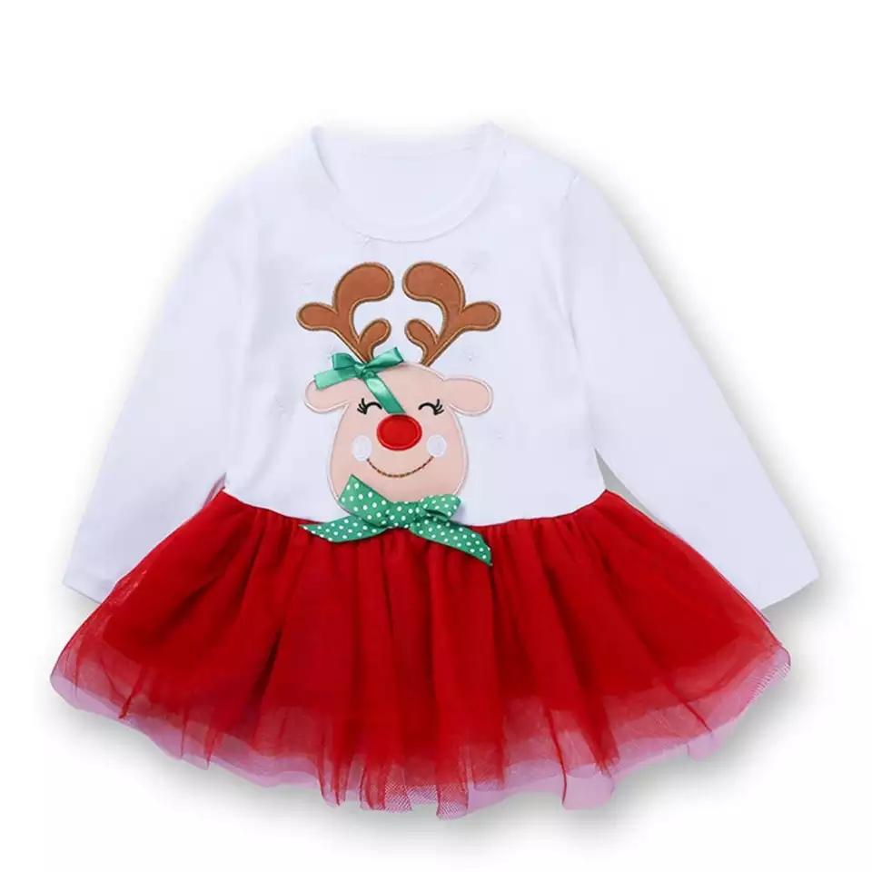 """Set 2 piese """"Zambet de Craciun"""", bluza tip rochita, leggings verzi cu rosu, cu buline"""