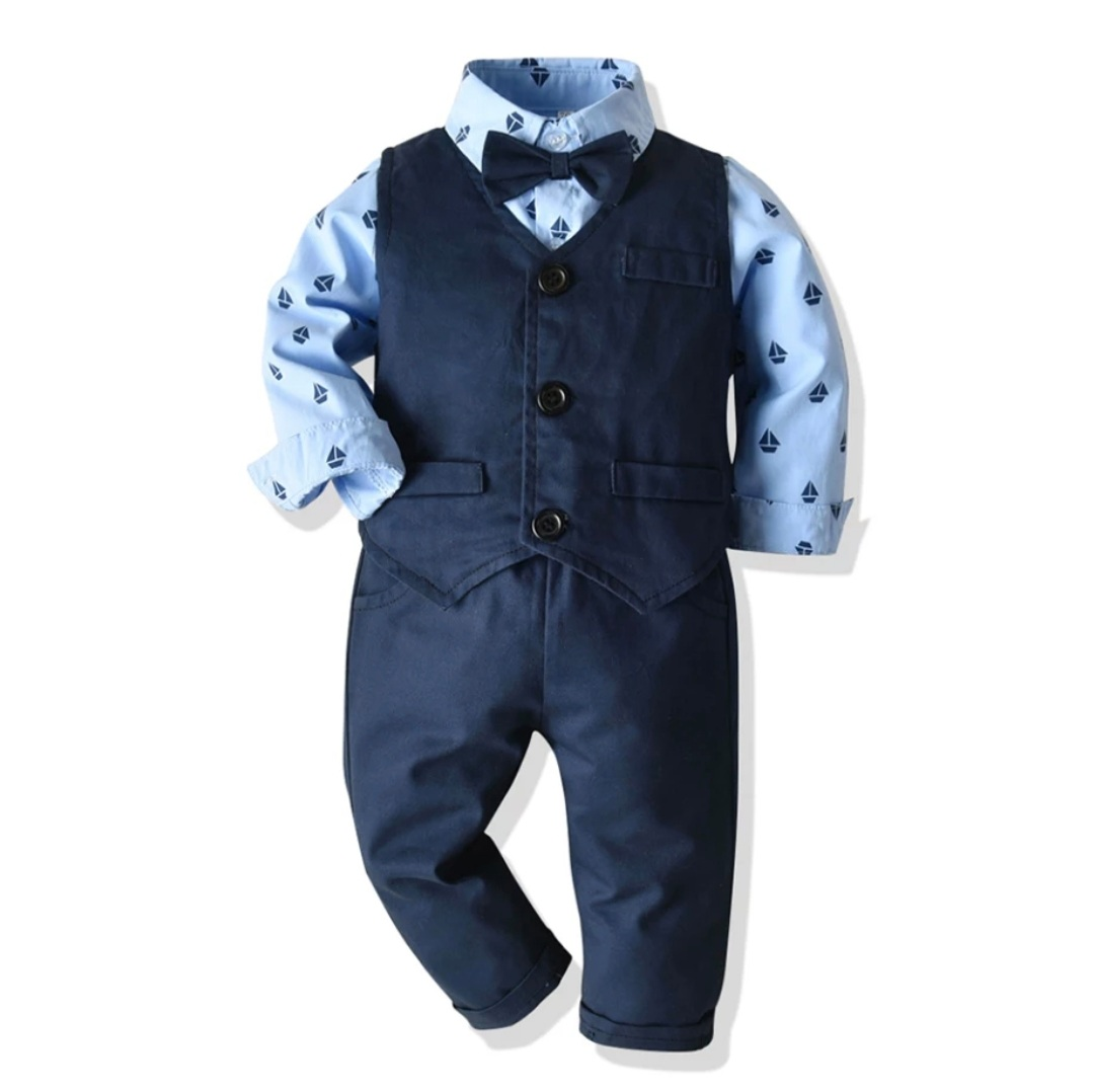 "Set elegant 3 piese ""Plimbare pe mare"", vesta si pantaloni albastri,  camasa bleu cu papion"