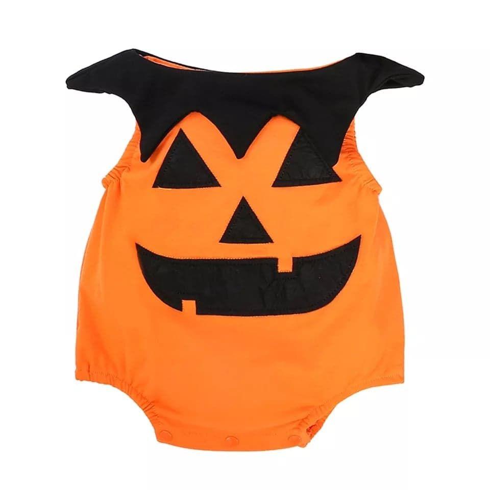 Costum Halloween 2 piese , body portocaliu , palarie neagra