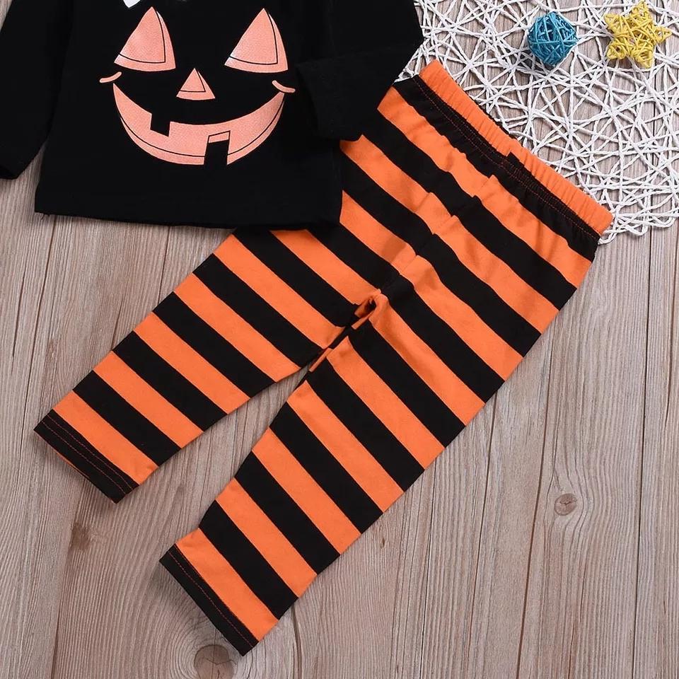 Set 2 piese Halloween bluza neagra, pantaloni in dungi