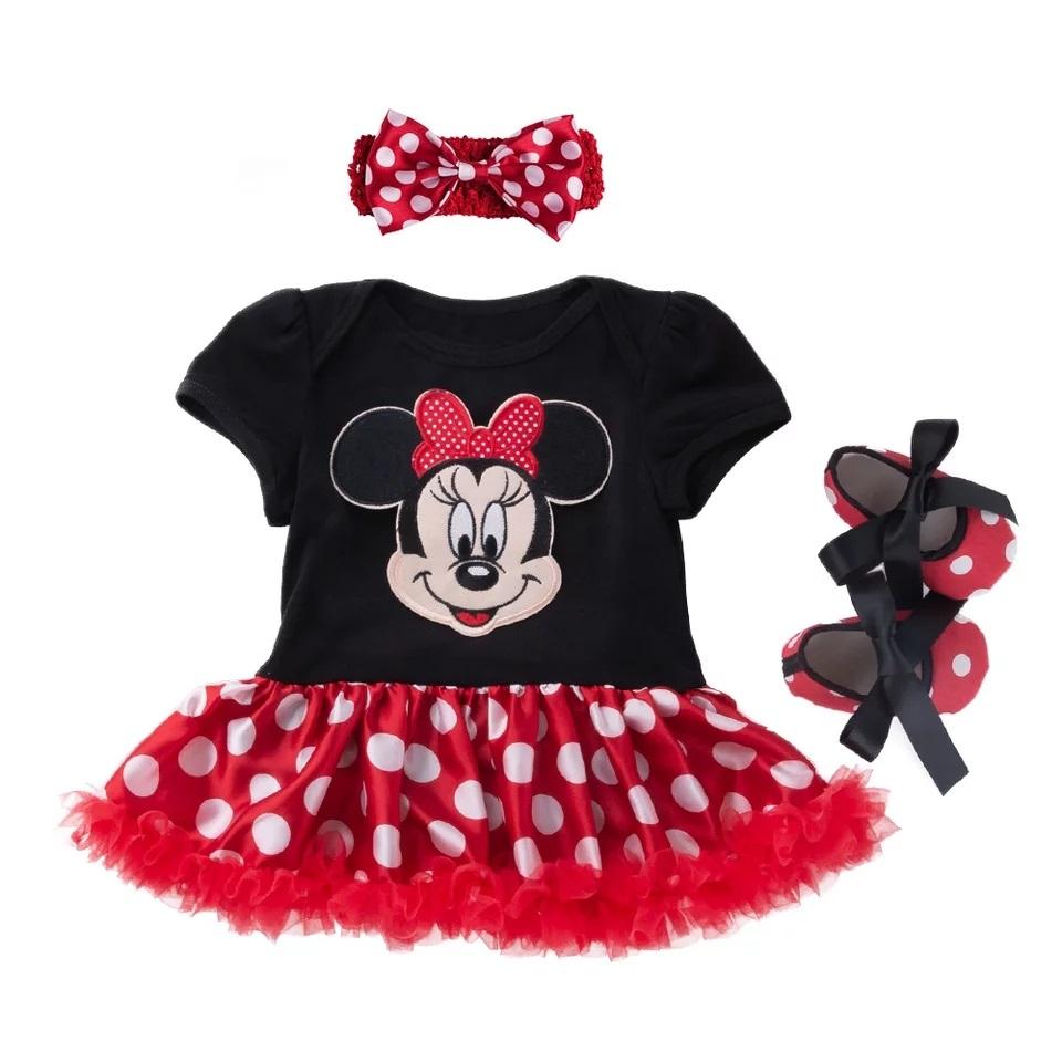 """Set 3 piese """"Minnie"""" , rochie buline cu body maneca scurta, bentita si balerini rosii"""