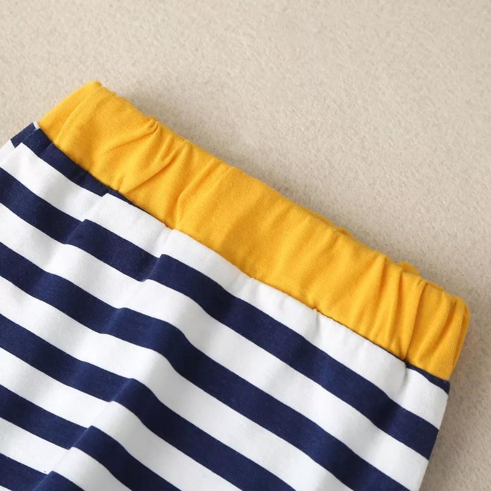 """Set 2 piese """"Ursuletul marinar"""", body galben, pantaloni in dungi"""