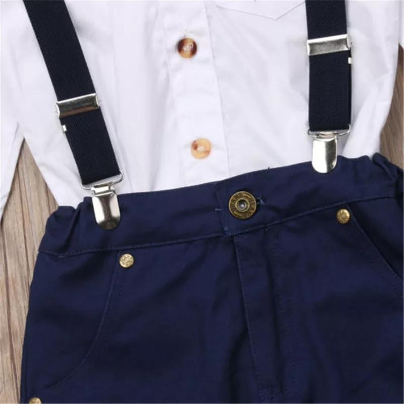 Set 2 piese , camasa alba stil tunica, pantaloni bleumarin cu bretele