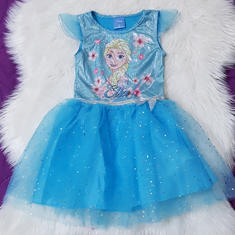 Rochie albastra Elsa, maneca scurta, tull cu sclipici
