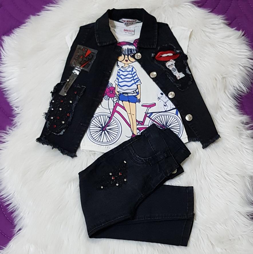 Set blug 3 piese , vesta cu strasuri si aplicatii, tricou alb si blugi negri lungi