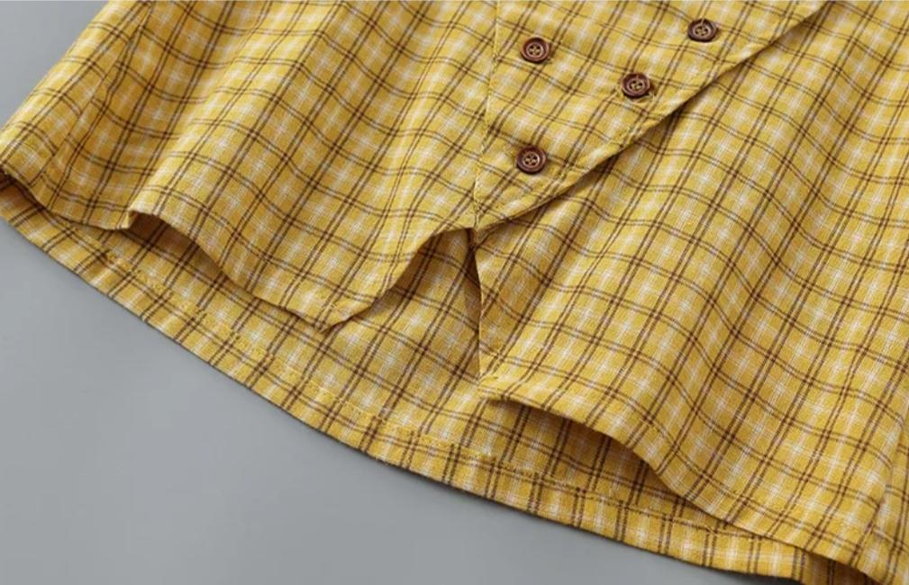 """Set 2 piese """"Fashion girl"""", bluza in carouri, fusta piele ecologica"""