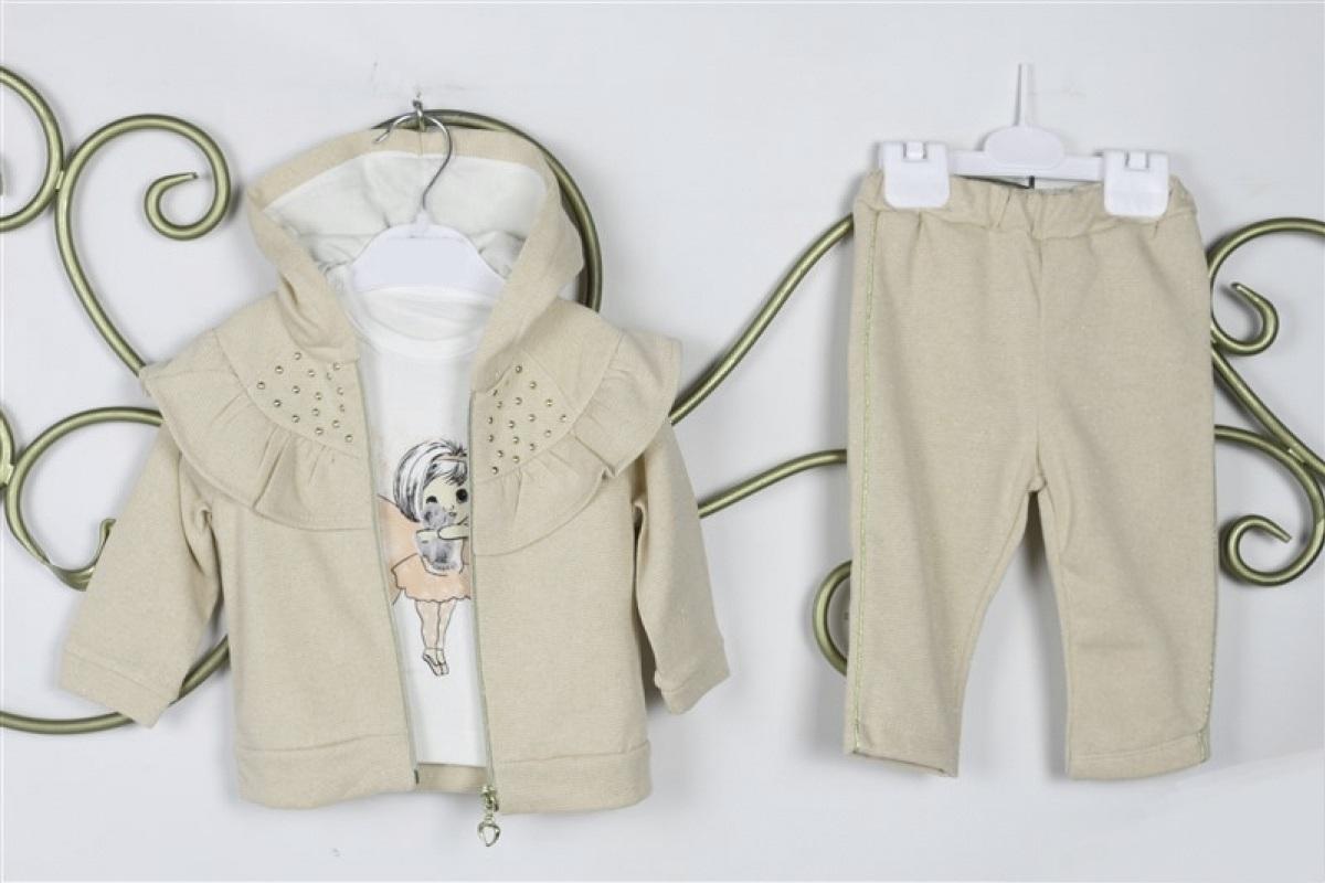 Set 3 piese , bluza descheiata, bej cu sclipici, maleta alba si pantaloni cu dunga laterala aurie