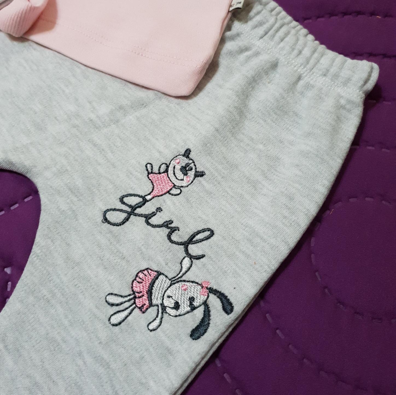 "Set 3 piese ""Love girl"" , bluza roz maneca lunga, pantalon gri si bentita"