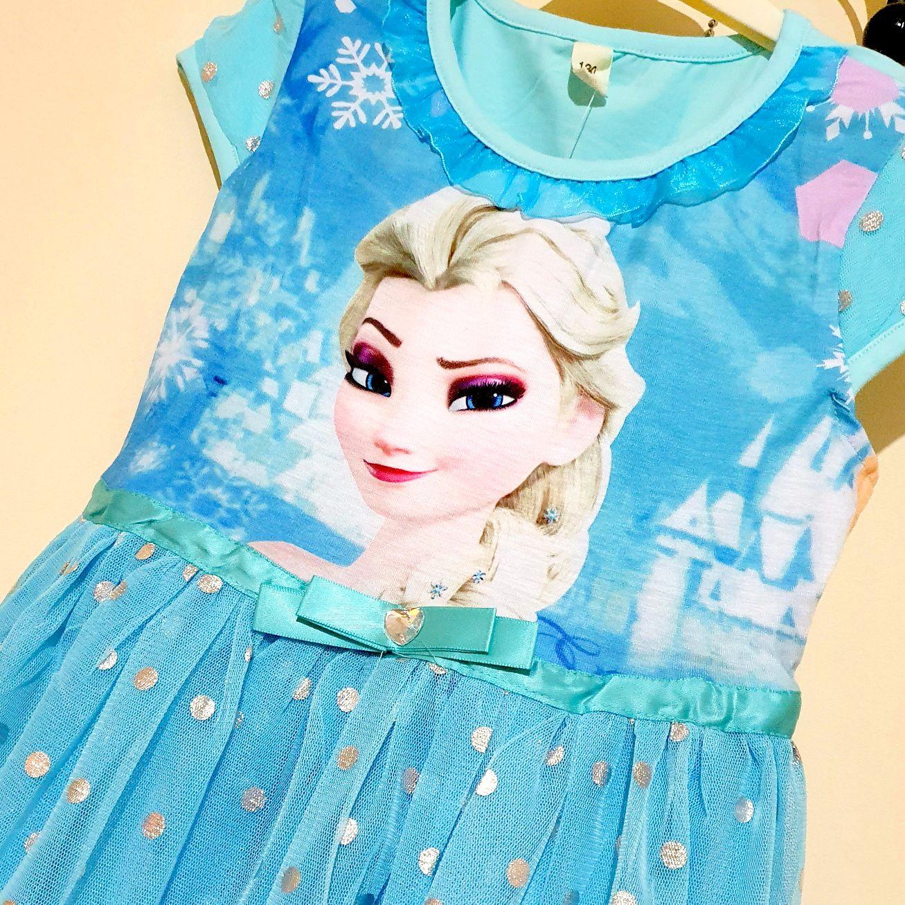 Rochie albastra Elsa, maneca scurta, tull cu buline argintii