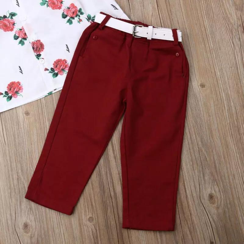 Pantaloni lungi visinii, curea alba inclusa