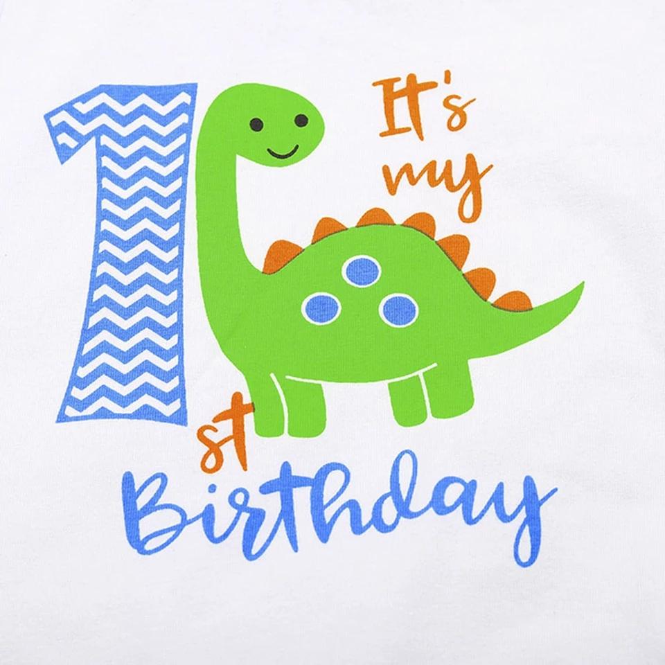 Set aniversar 1 an , body alb, chilot model dinozauri cu bretele verzi