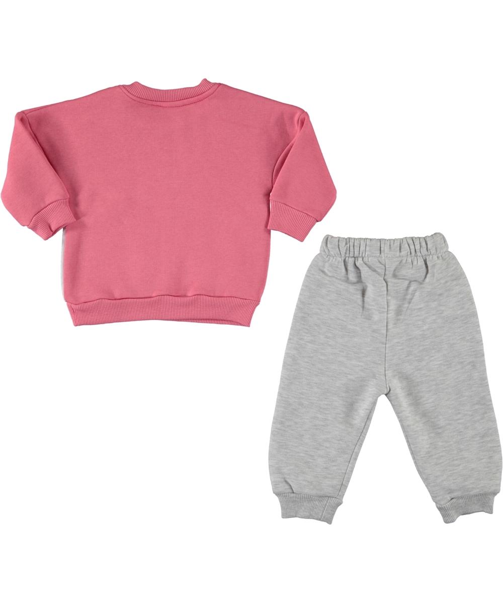 "Trening 2 piese thermo "" Ursuletul dansator"", bluza roz, pantaloni gri"