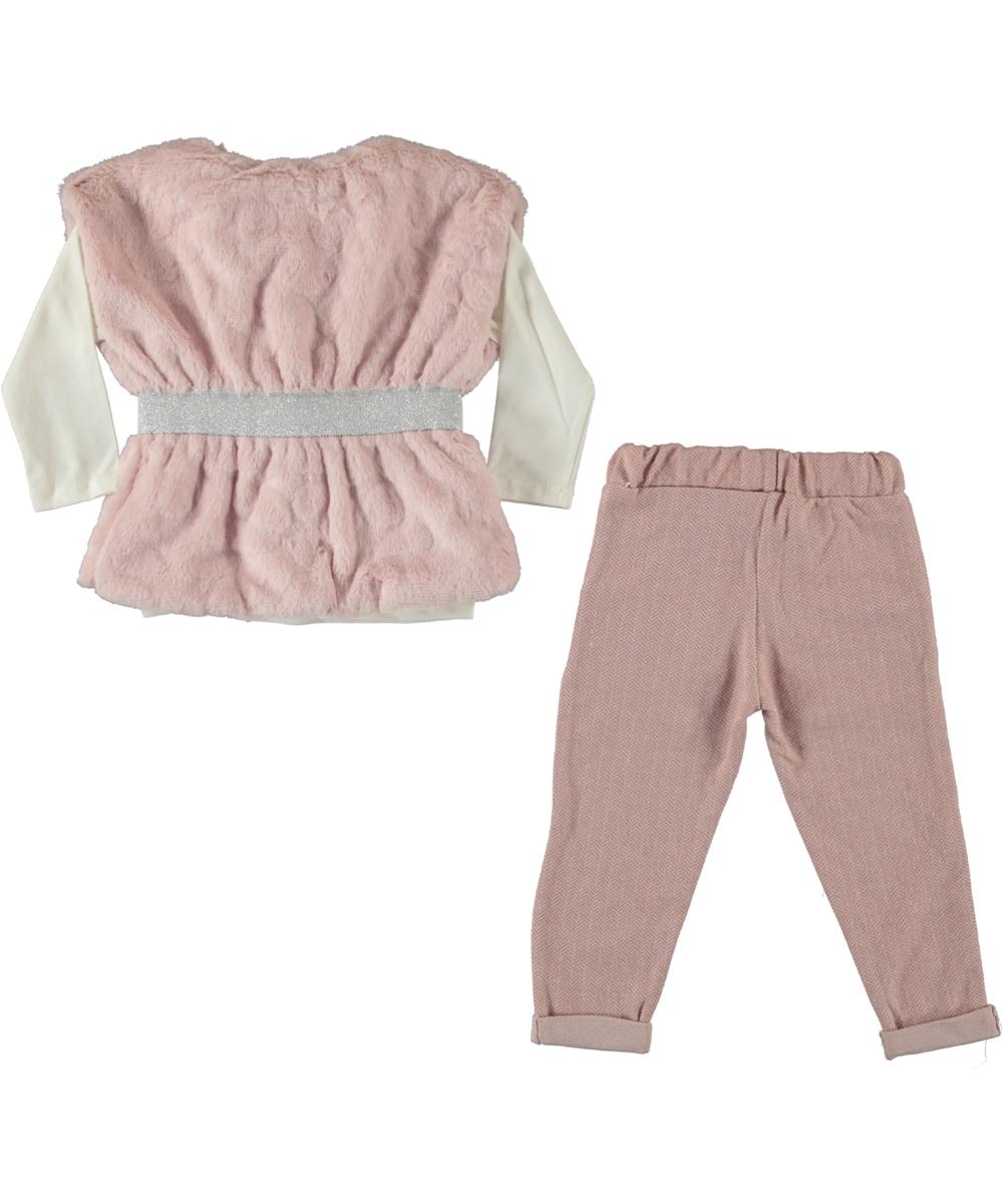 """Set 3 piese """"Parfum de iubire"""", vesta blanita, bluza alba si pantaloni roz"""