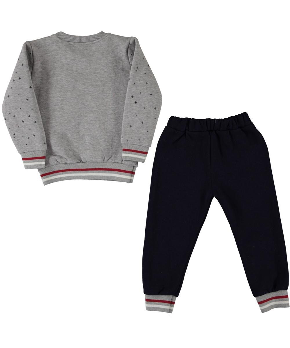 "Trening 2 piese thermo ""Astronautul"", bluza gri, pantaloni bleumarin"