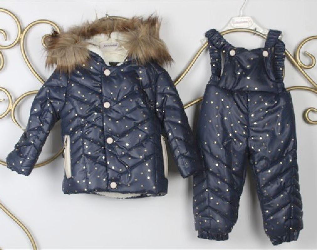 Salopeta iarna 2 piese , geaca imblanita, bleumarin cu stelute si pantaloni cu bretele