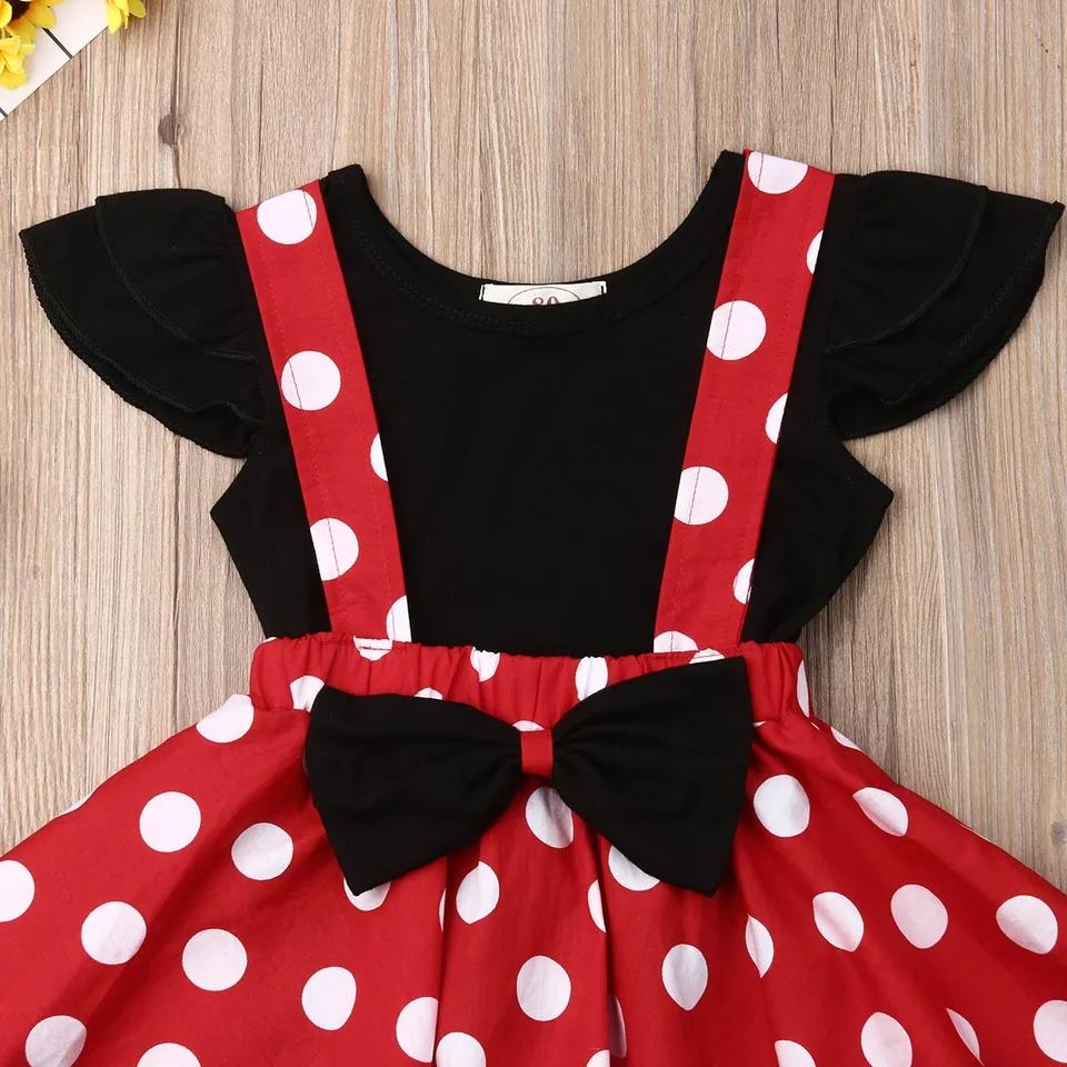 Set vara 2 piese , fusta cu bretele , rosie cu buline , tricou negru