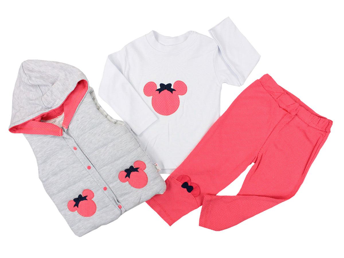 """Set 3 piese """"Minnie dots"""", vesta gri cu gluga, bluza alba si leggings roz cu buline"""