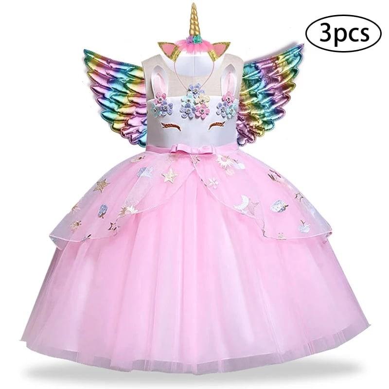 """Rochie tull roz """" Printesa unicorn"""" , aripi multicolore si coronita incluse"""