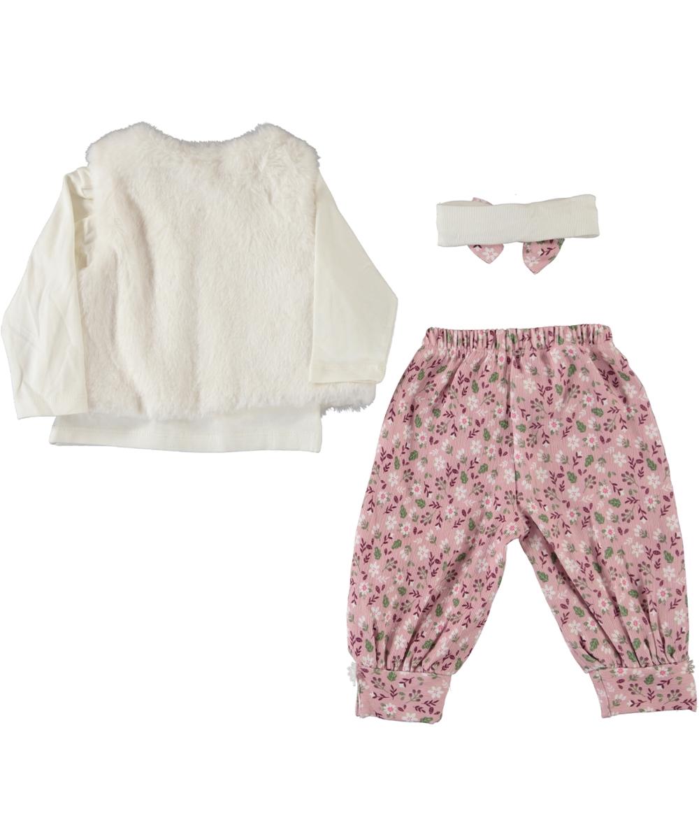 "Set 4 piese ""Viata linistita"", vesta alba, bluza maneca lunga, pantaloni roz inflorati si bentita"
