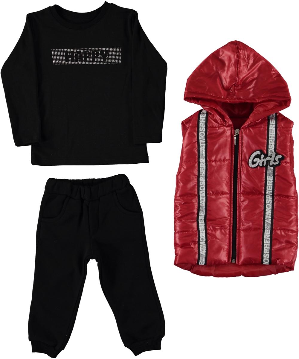 "Set 3 piese ""Happy girl"", vesta rosie cu gluga, bluza neagra maneca lunga, pantaloni thermo"