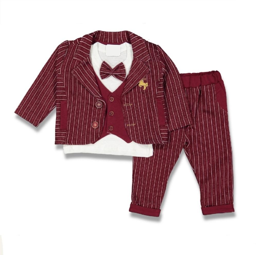 Set elegant 3 piese sacou visiniu, bluza alba imitatie vesta, pantaloni in dungi