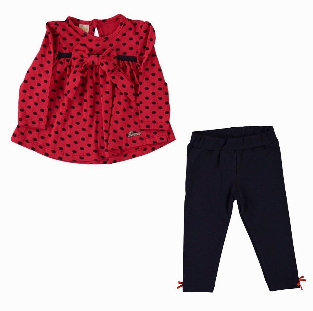 Set 2 piese, bluza rosie cu buline, leggings bleumarin