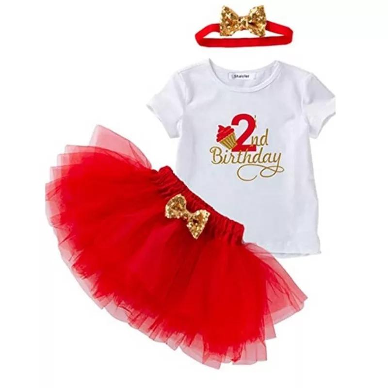 "Set aniversar 2 ani ""Prajiturica"", tricou alb, fusta tull rosie si bentita cu paiete"