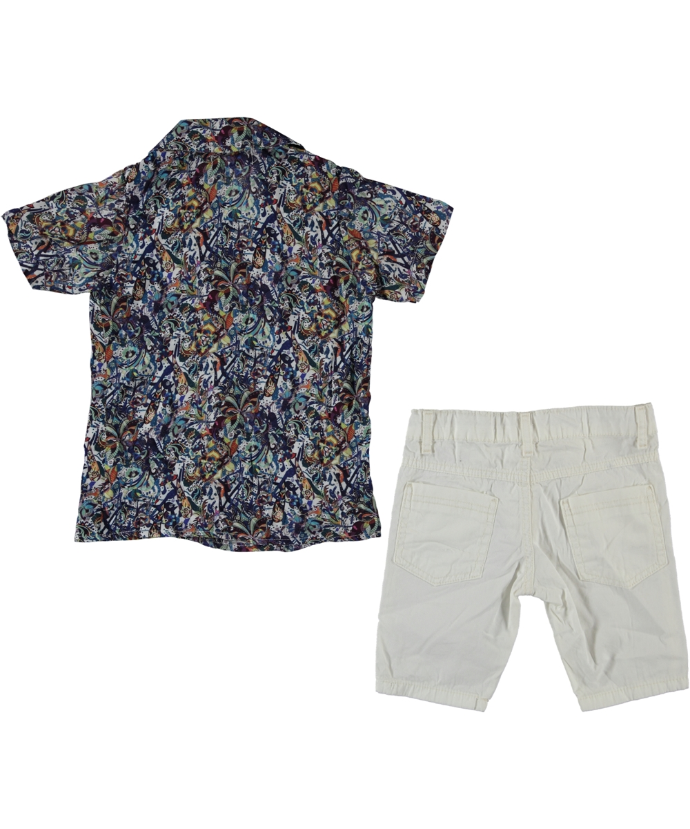 "Set vara 2 piese ""Hawaii boy"" , camasa albastra , pantaloni scurti albi"