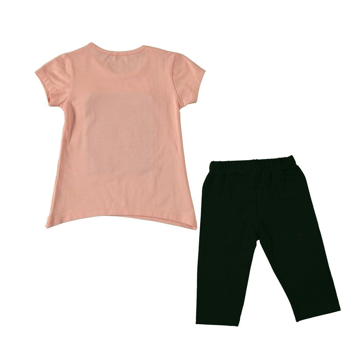 """Set vara 2 piese """"Club style"""", tricou frez , leggings 3/4 negru cu taieturi si insertii stralucitoare"""