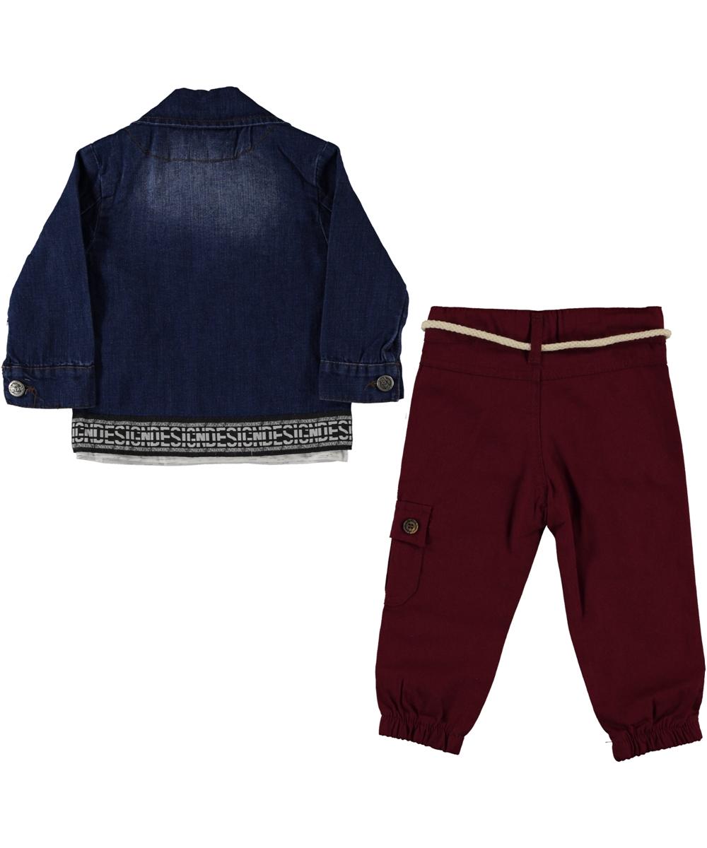 "Set 3 piese ""Crazy life"" , geaca de blug , bluza maneca lunga, pantaloni visinii"