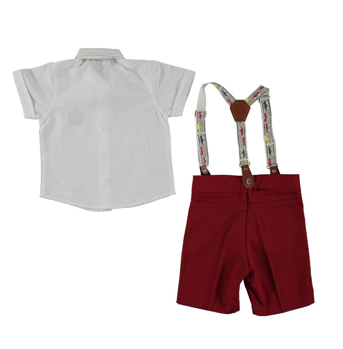 "Set vara 2 piese ""Masinute colorate"", camasa alba cu papion , pantaloni scurti visinii cu bretele"