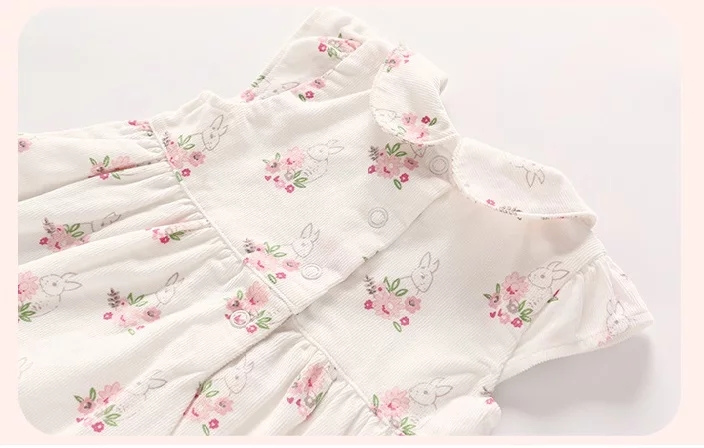 "Set 2 piese ""Iepurasul intre flori"" , rochie maneca scurta , bolero roz"