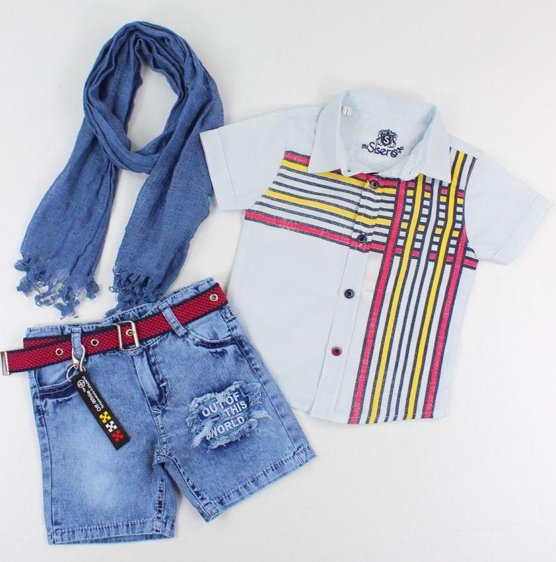 "Set vara 3 piese ""Joc de linii"", camasa bleu, blugi albastri si esarfa"