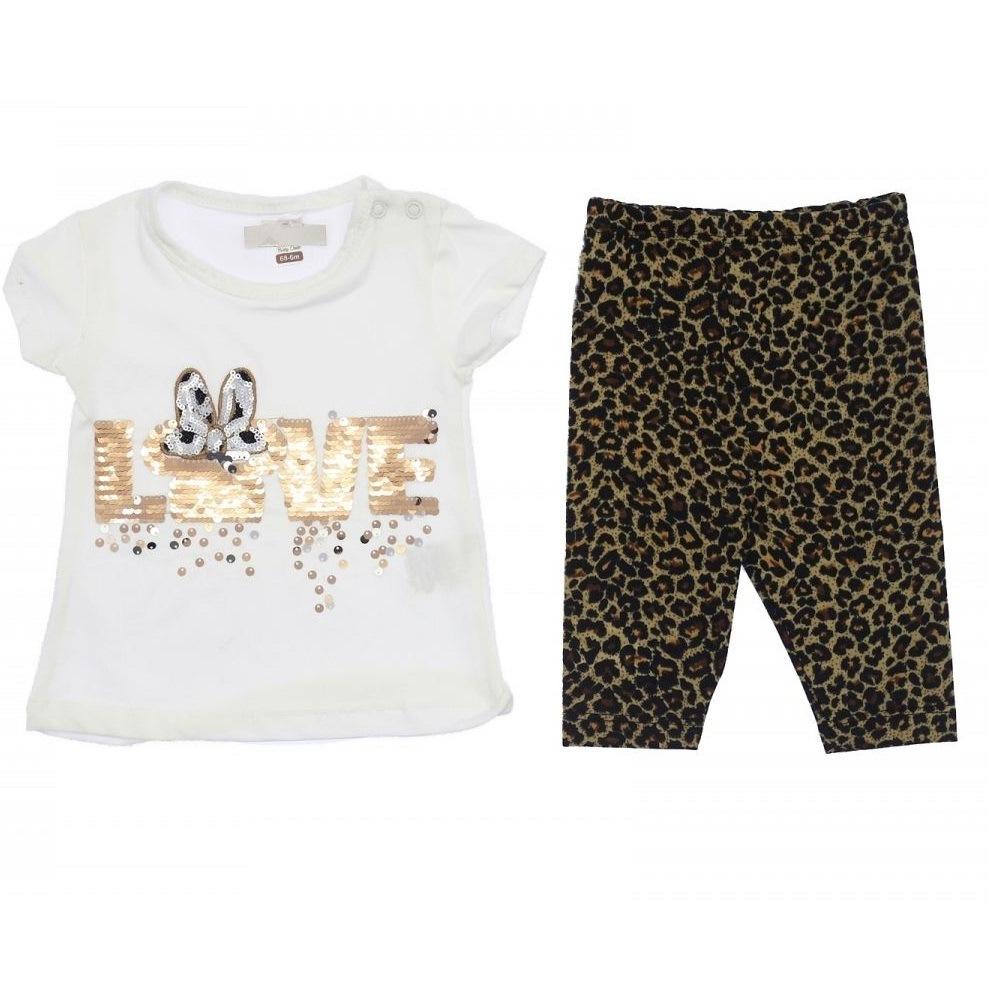 "Set vara 2 piese ""Love Minnie"" , tricou alb cu paiete reversibile, leggings animal print"