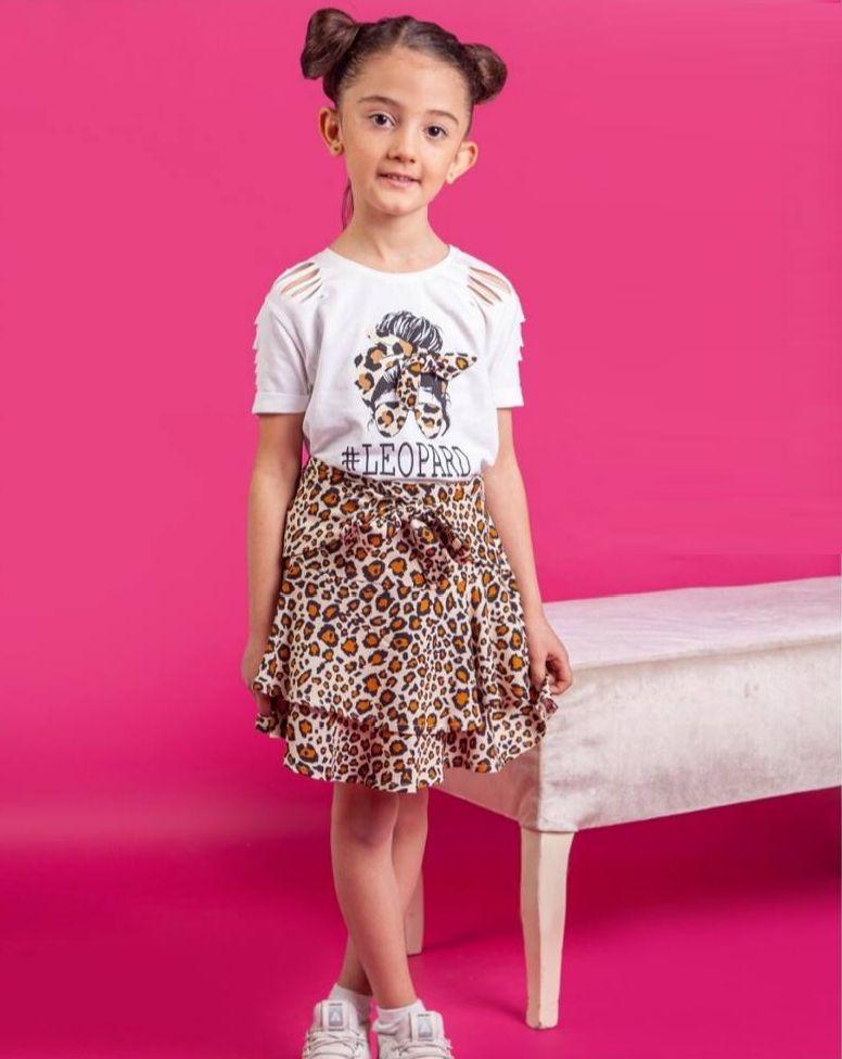 "Set vara 2 piese ""Leopard girl"", tricou alb cu taieturi, fusta animal print"