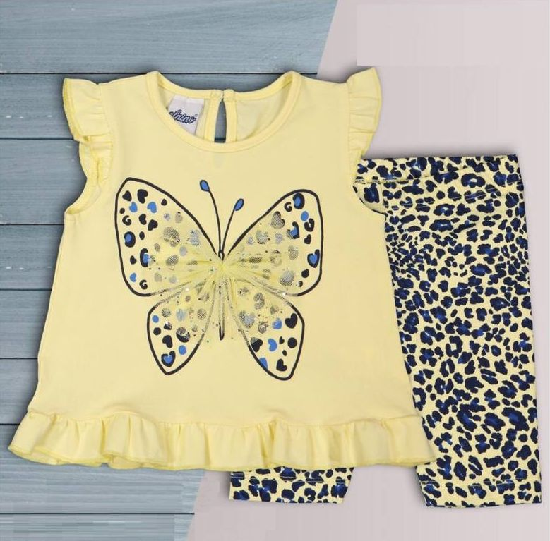 "Set vara 2 piese "" Fluturasul inimos"", tricou galben, leggings 1/2 animal print"