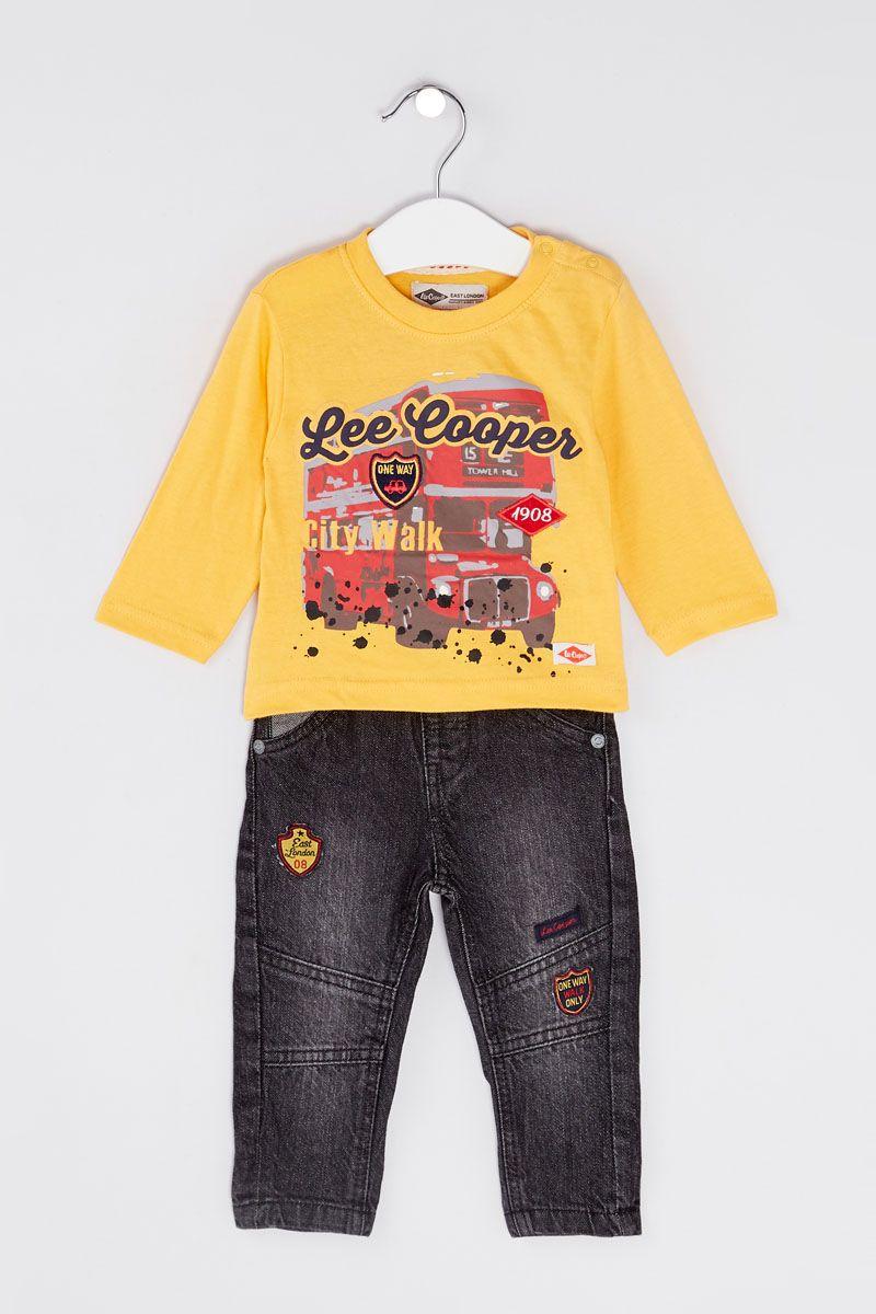 "Set 3 piese ""Lee Cooper"", geaca galbena, bluza maneca lunga, blugi negri"