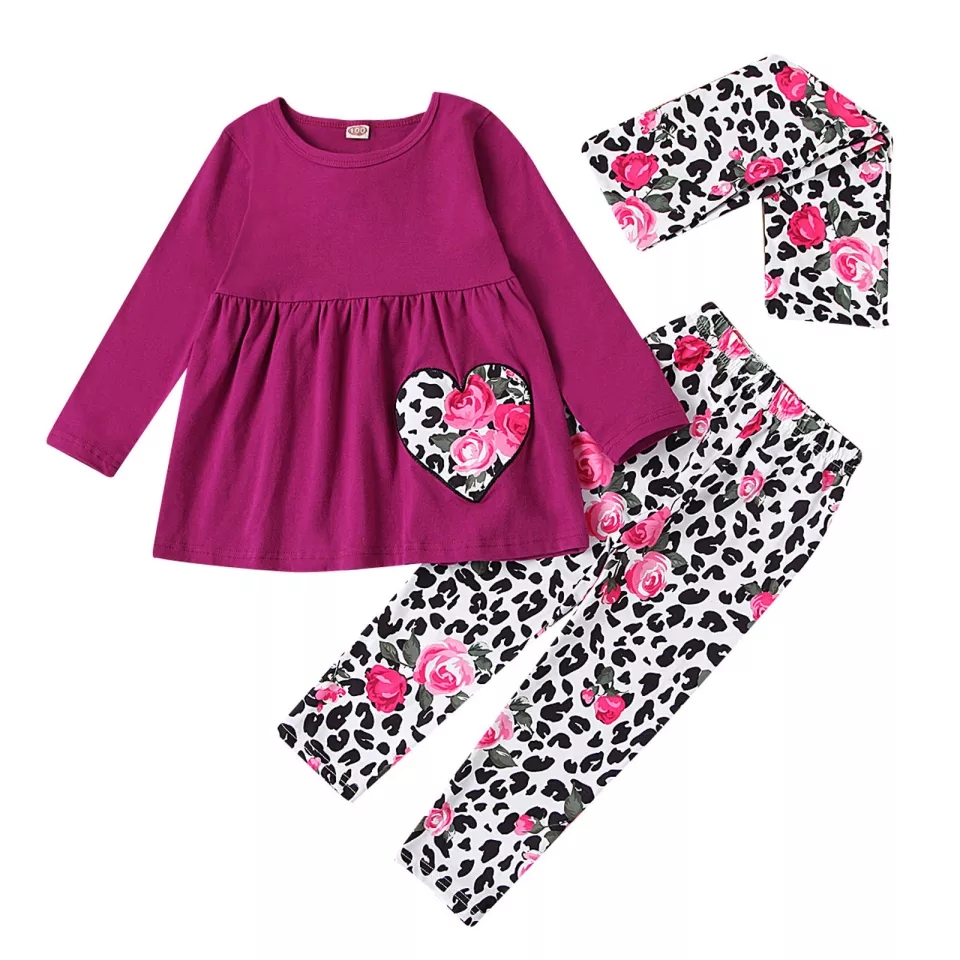 "Set 3 piese ""Buchet de trandafiri"", bluza tip rochita, pantaloni animal print si esarfa"