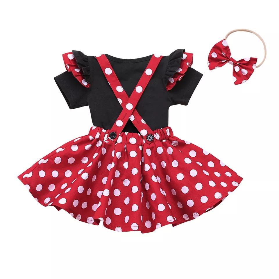 Set vara 3 piese, fusta cu bretele, rosie cu buline, tricou negru si bentita cu funda