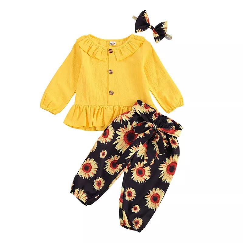"Set 3 piese ""Floarea soarelui"", bluza galbena maneca lunga, pantaloni negri bufanti si bentita"