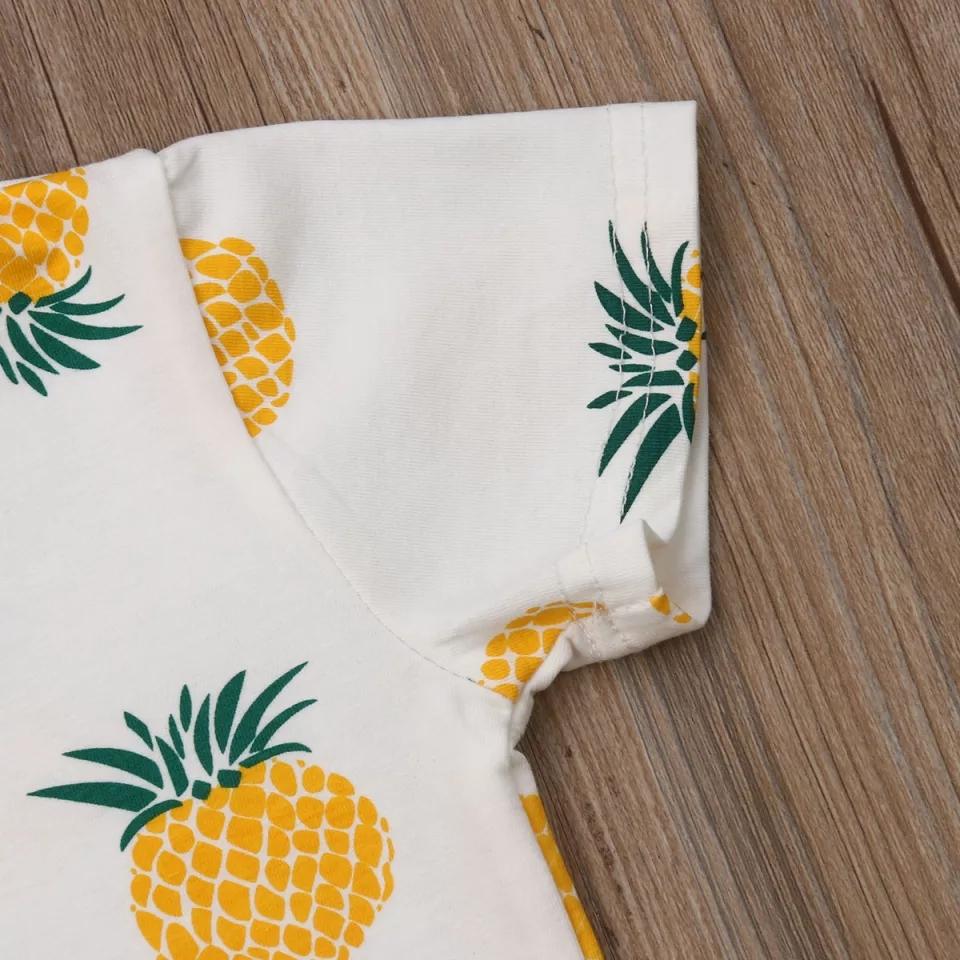 "Set vara 2 piese ""Ananas"", tricou alb, pantalon scurt"