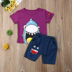 "Set vara 2 piese ""Shark"", blug scurt, tricou mov"