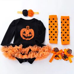 "Set 4 piese ""Dovlecel de Halloween"", body negru tip rochita , jambiere portocalii, papucei si bentita"
