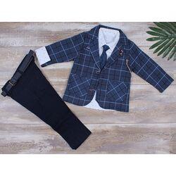 Costum elegant 3 piese, sacou albastru , camasa alba cu cravata, pantaloni bleumarin