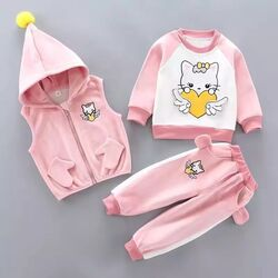 "Trening roz thermo 3 piese ""Kitty iubareata"", vesta cu gluga, bluza si pantaloni  cocolino vatuiti"