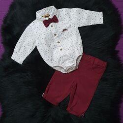 "Set elegant 2 piese ""Mustata"", body stil camasa cu papion, pantaloni grena"