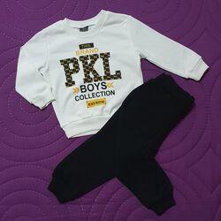 "Trening 2 piese ""PKL"", bluza alba maneca lunga, pantaloni negri"