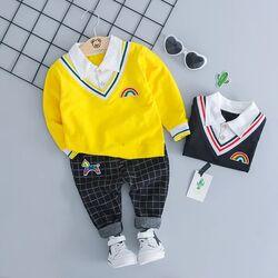 Set 2 piese, bluza galbena tip camasa, pantaloni negri in carouri